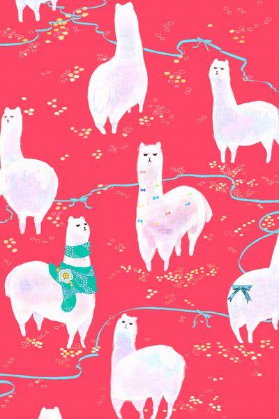 Llama Pattern Patterns Iphone Wallpaper Pink Pattern Illustration 400x600