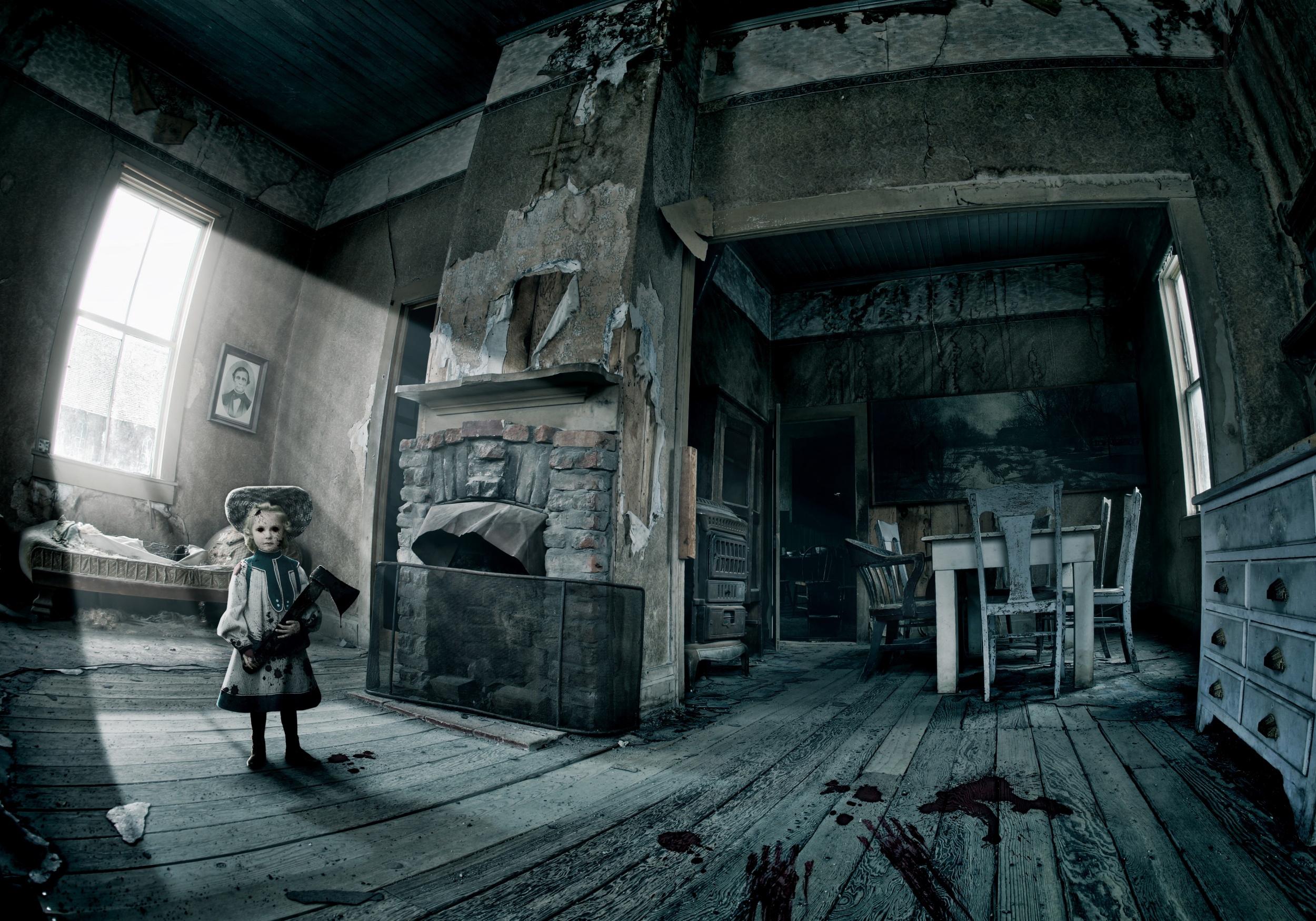 ghost doll haunted house ax blood window sunlight hd wallpaper 2500x1750