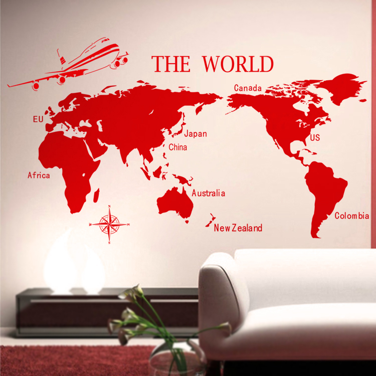 com Buy 17666cm Large Size Wall stickers World Map WallPaper 750x750