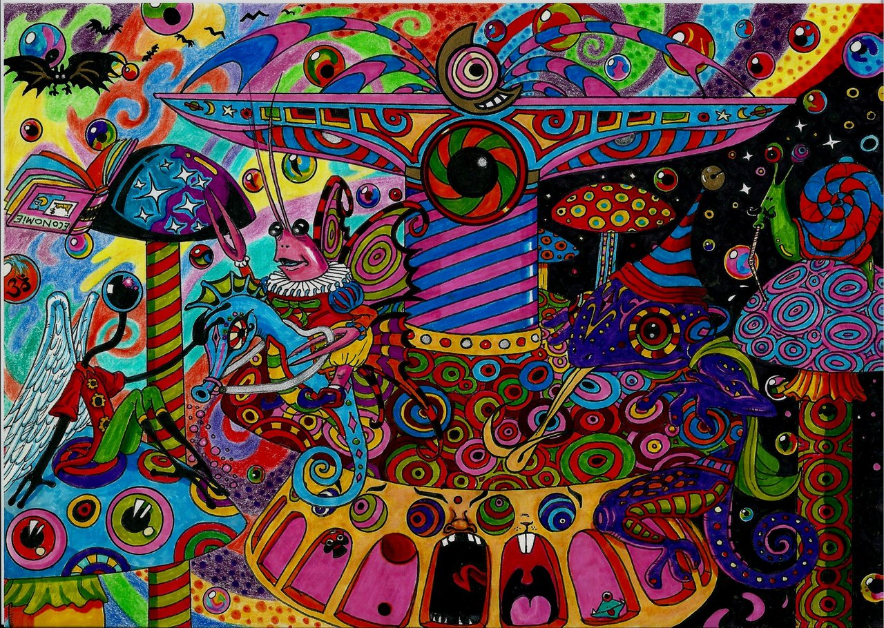 Abstract Physcedelic Merry Go Round Physcedelic Wallpaper