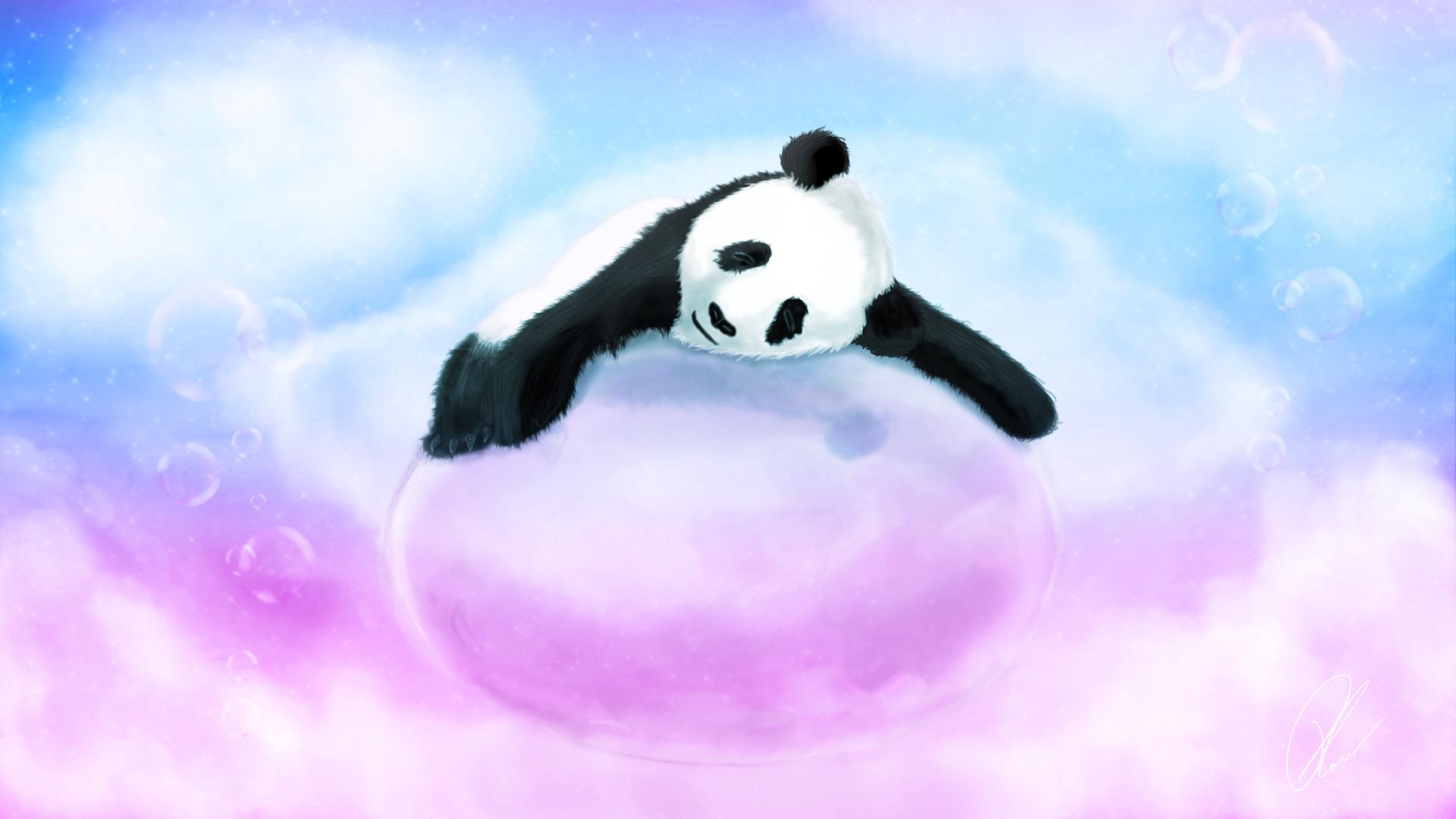 Panda bear bubble lying bubbles pink blue sleeping wallpapers 1920x1080