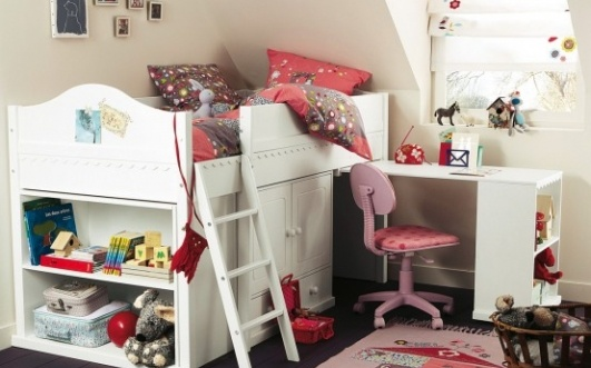 Area kids loft bed with wallpaper girls bedroom decorating ideas 531x331