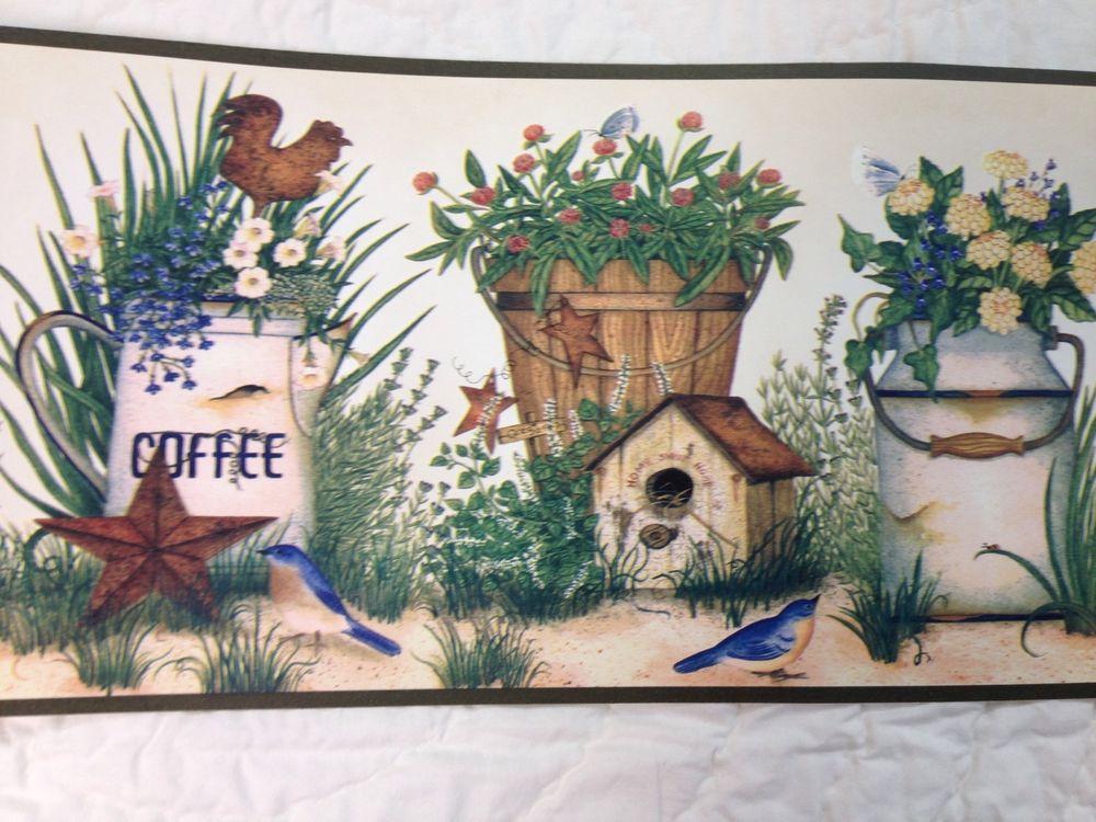 Primitive Kitchen Rooster Coffee Birdhouse Wallpaper Border eBay 1000x750