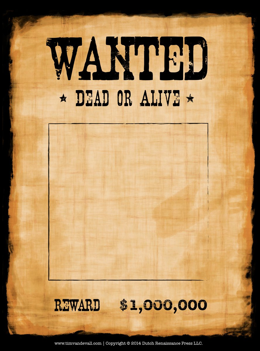 Another high caliber wanted poster template Reprinted in shades of 889x1200