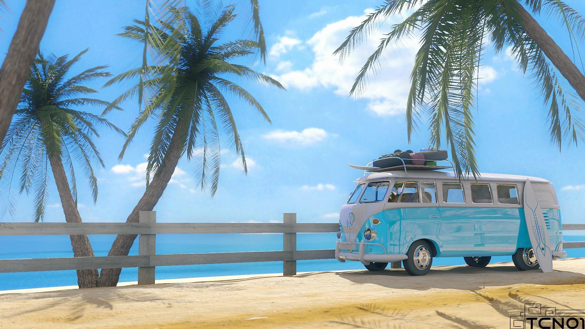 Beach VW Van Wallpapers on WallpaperDog 1920x1080