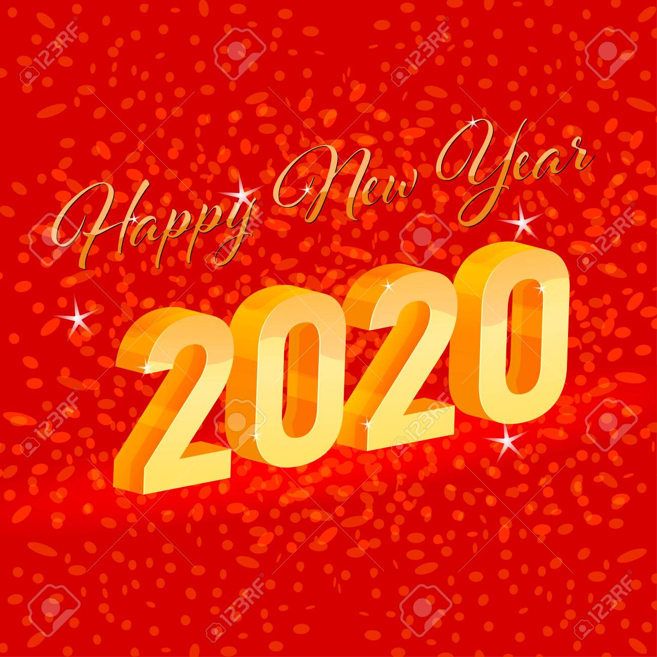 Happy New Year 2020 Scene On A Red Colors Vector Wallpaper 1300x1300