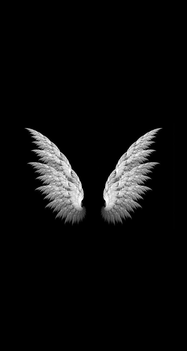 black white angel wings Wallpaper backgrounds 2019 744x1392