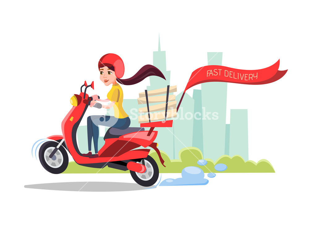 Vector cartoon girl riding scooter Delivery food pizza service 1000x750