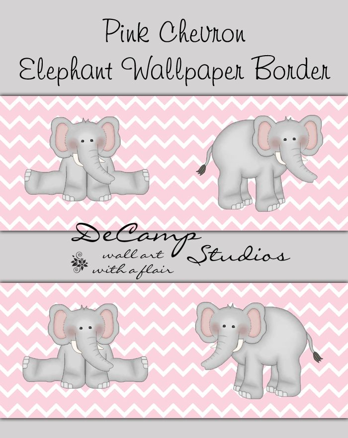 Pink and Grey Elephant Chevron Wallpaper Border Wall Decals for baby 700x881