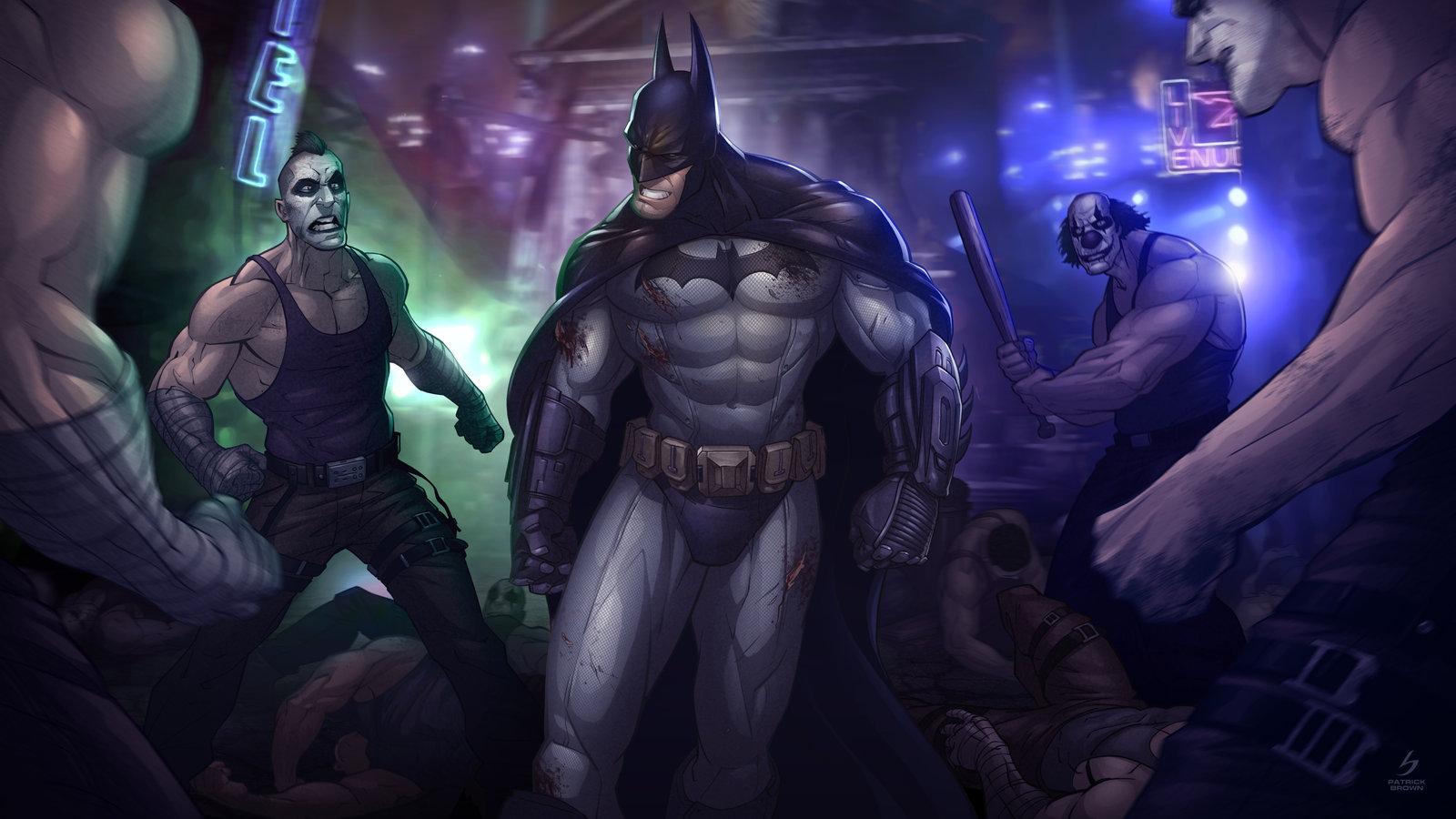 batman arkham city by patrickbrown fan art digital art drawings games 1600x900