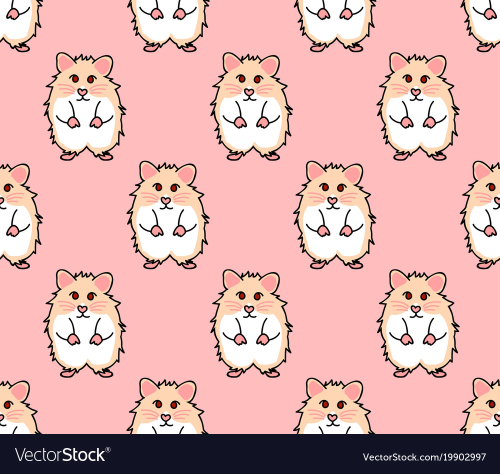 Cute red eyes hamster on pink background Vector Image 1000x948