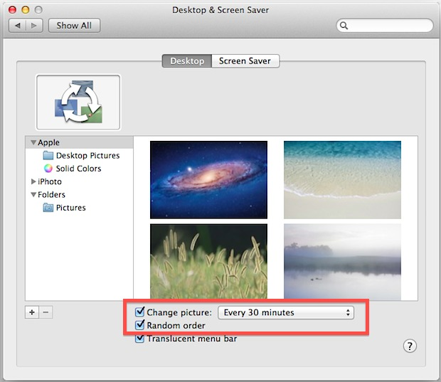 Change Desktop Wallpaper pictures automatically in Mac OS X 620x537