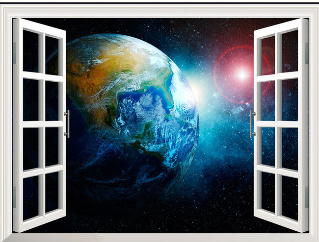 Earth from outer space background wallpaper murals living room bedroom 650x494