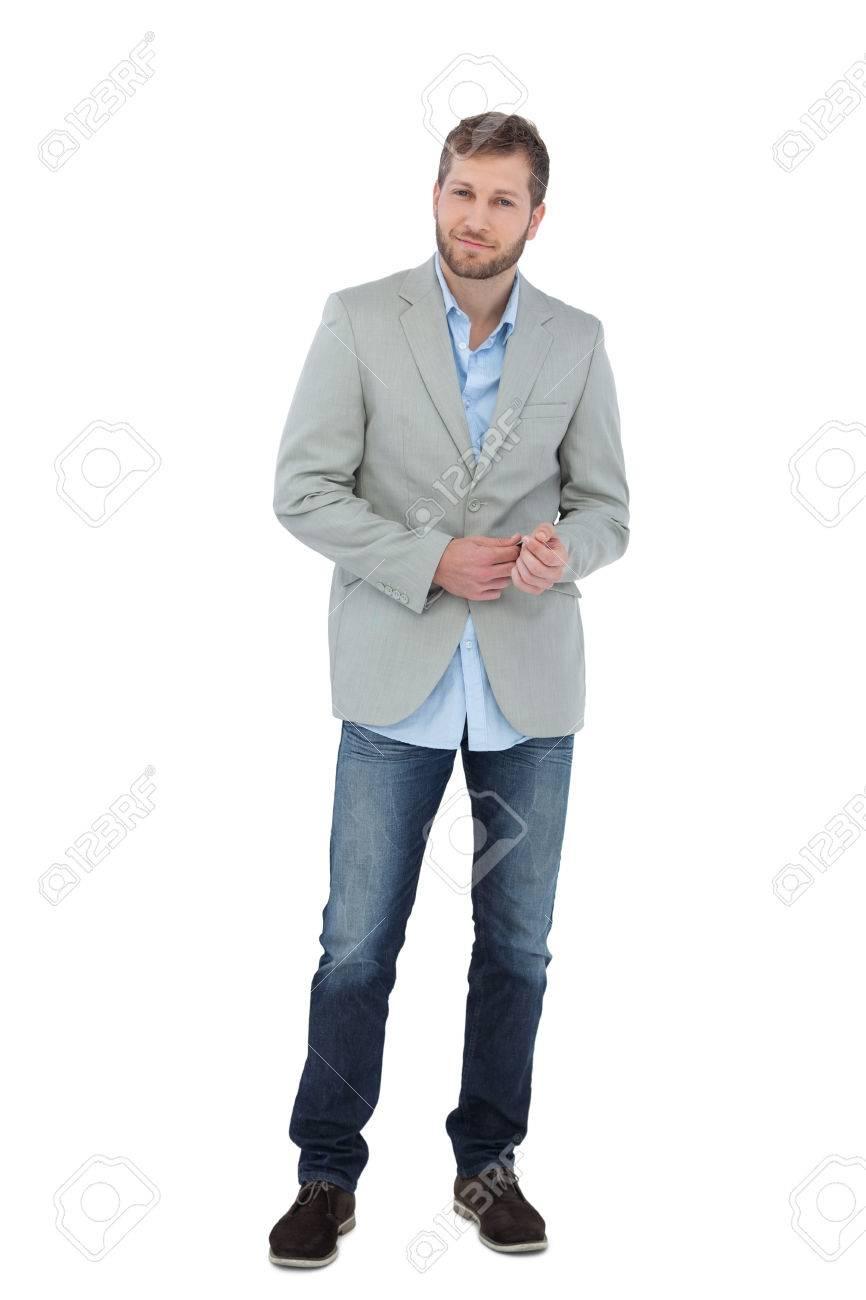 Suave Man In A Blazer Posing On White Background Stock Photo 866x1300