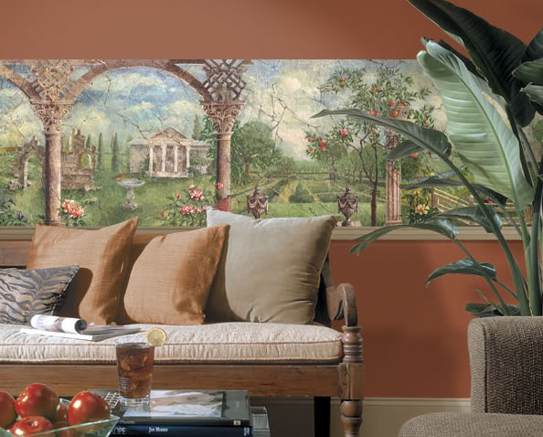 Italian Gardens Mural Style Pre Pasted Wallpaper Wall Border eBay 594x478