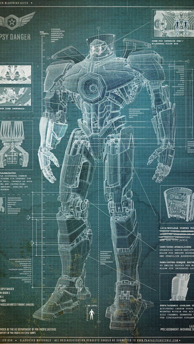 Pacific Rim Jaeger Blueprint Wallpaper IPhone Wallpapers 640x1136