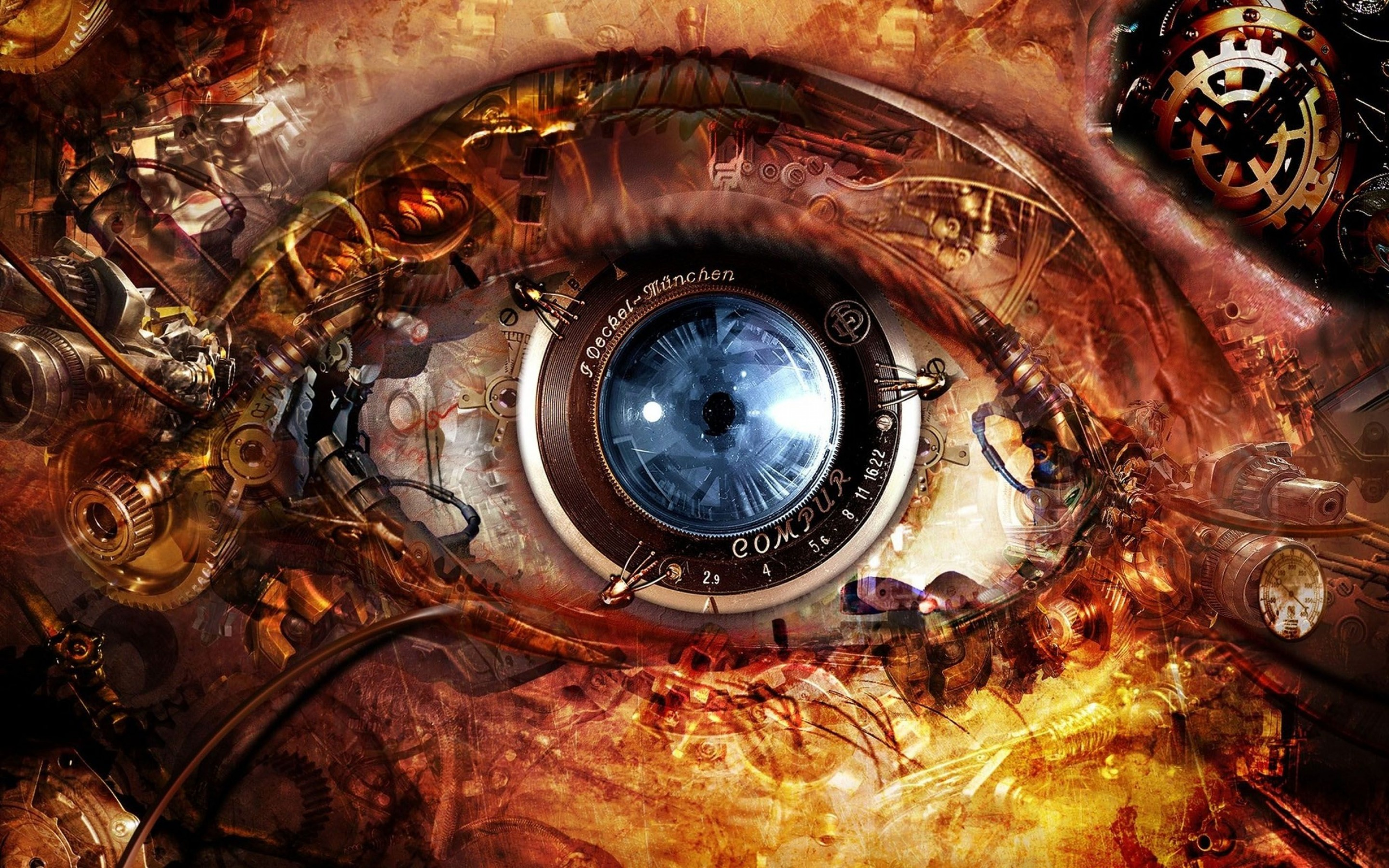 Steampunk Abstract Eyes HD Wallpaper 2880x1800