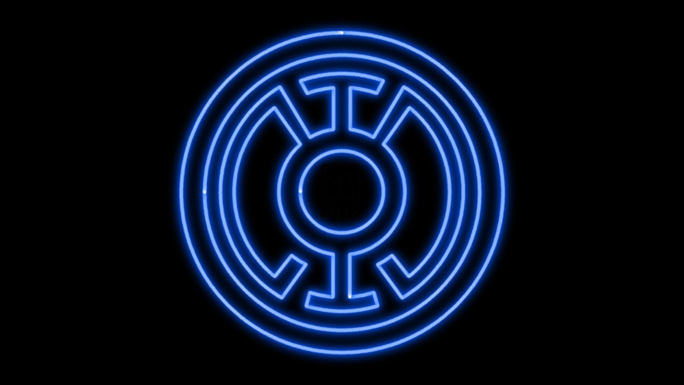 blue lantern corps neon symbol wp by morganrlewis fan art wallpaper 1366x768