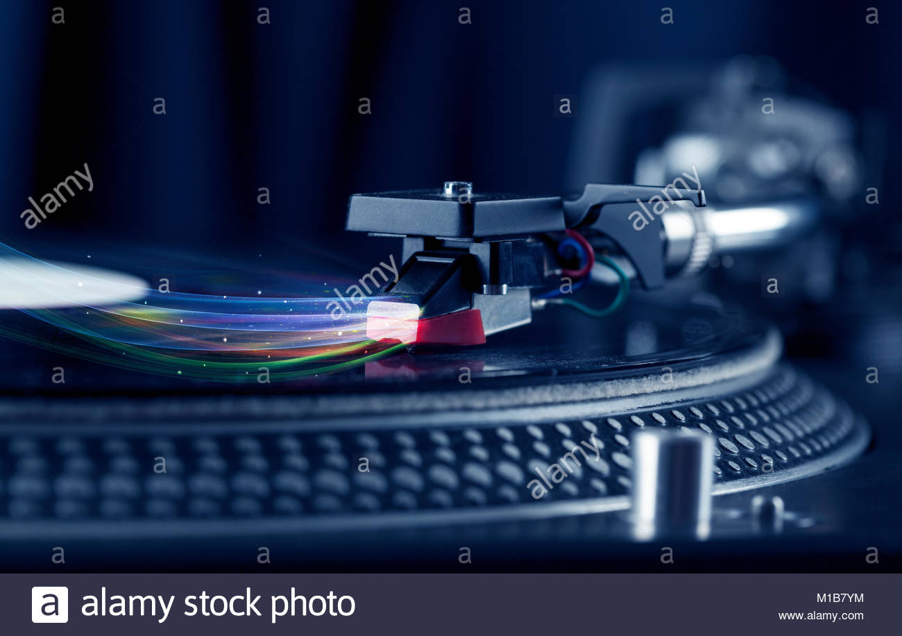 Music player playing vinyl music with colourful abstract lines 1300x916
