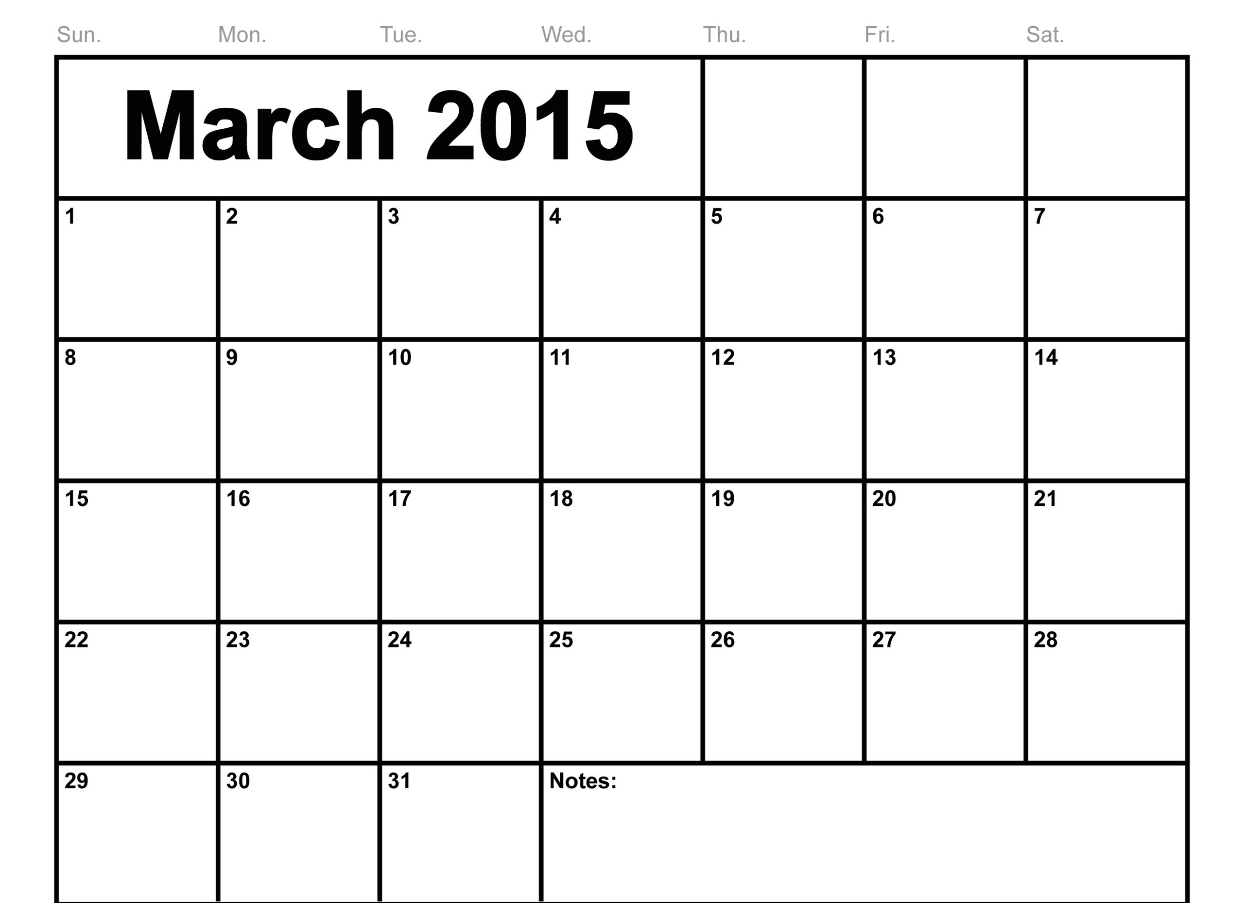 March 2015 calender with note place 2560x1858