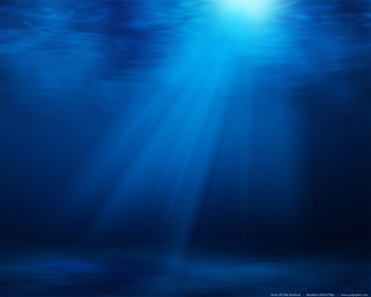 Blue underwater with sun rays background PSDGraphics 1280x1024