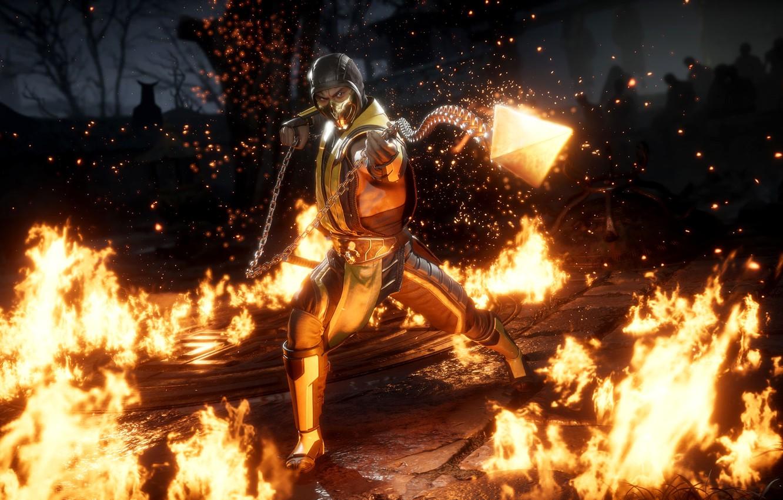 Wallpaper fire game Scorpion ninja fighting get over here 1332x850
