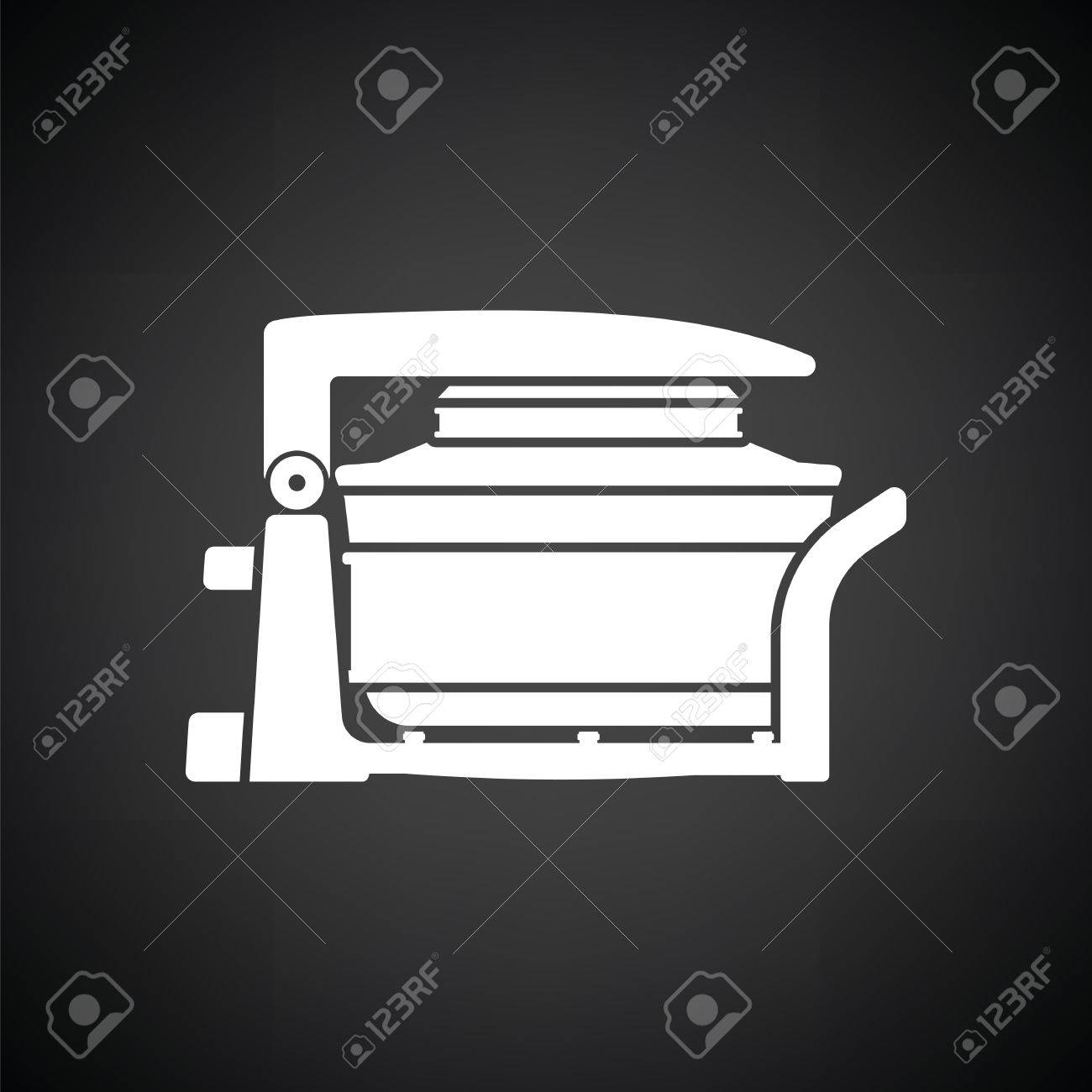 Electric Convection Oven Icon Black Background With White Vector 1300x1300