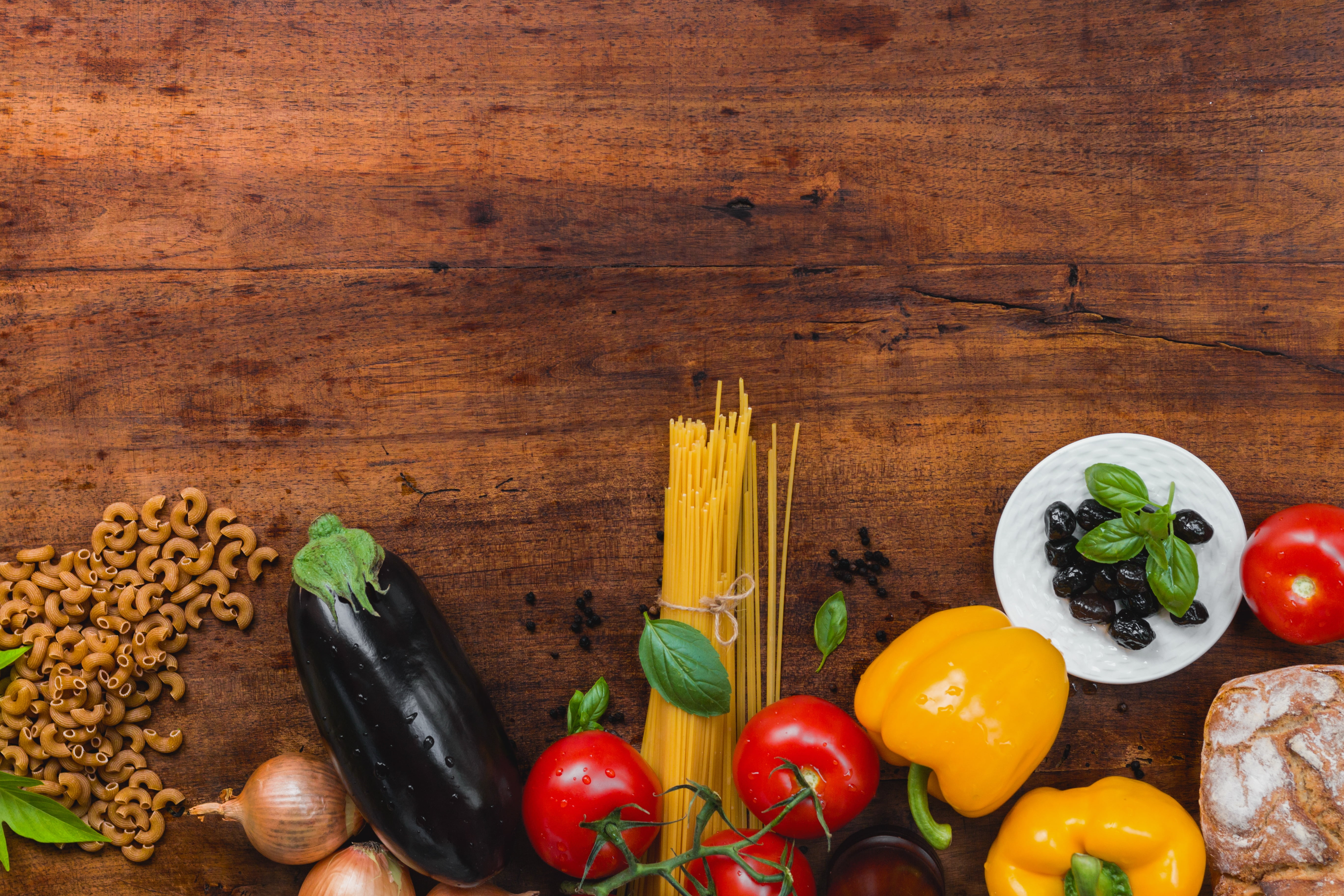 Closeup photo of assorted vegetables on brown wooden surface HD 5472x3648