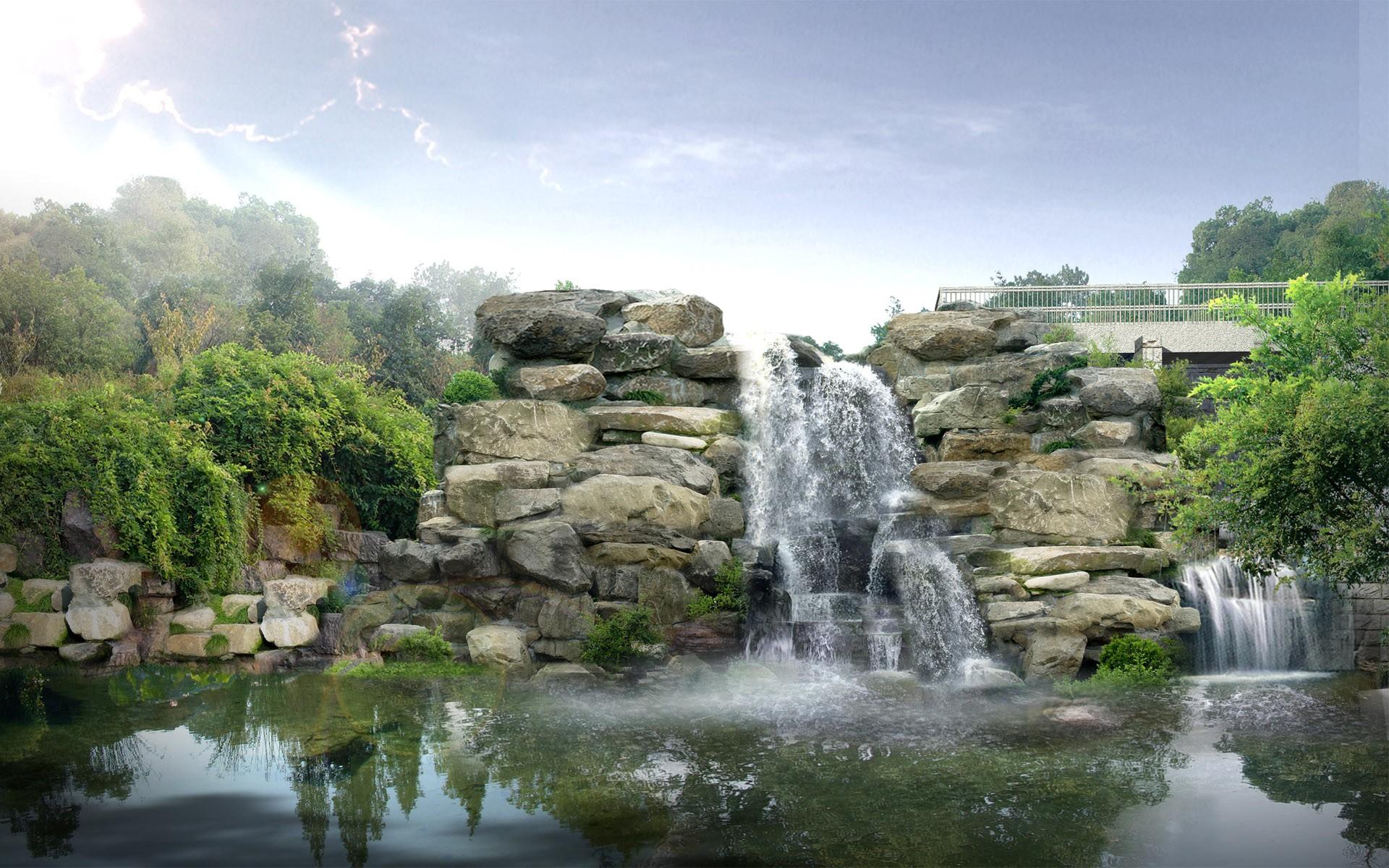 Japan Digital Waterfall Wallpapers HD Wallpapers 1920x1200