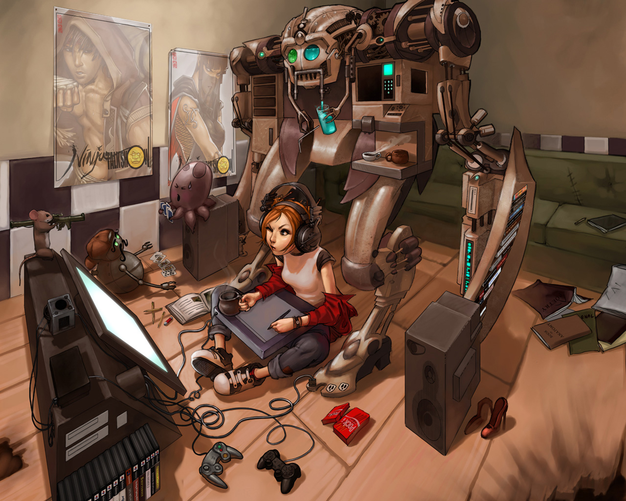 headphones women cards video games robots coffee people shoes books 1280x1024