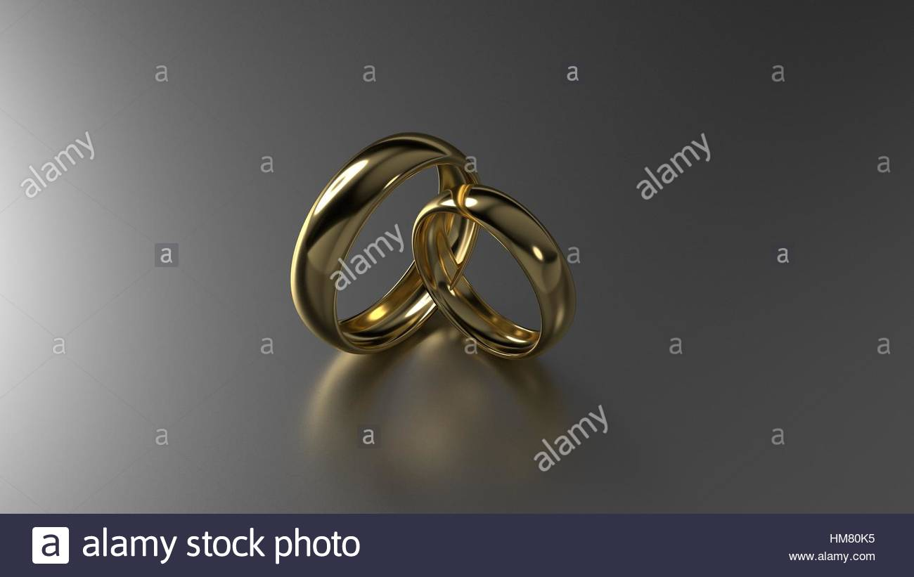 Couple of beauty gold wedding rings on black background 3D Stock 1300x821
