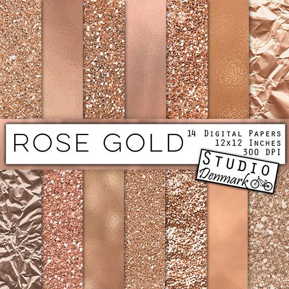 Rose Gold Digital Paper   Warm Gold Backgrounds   Gold Glitter 570x570