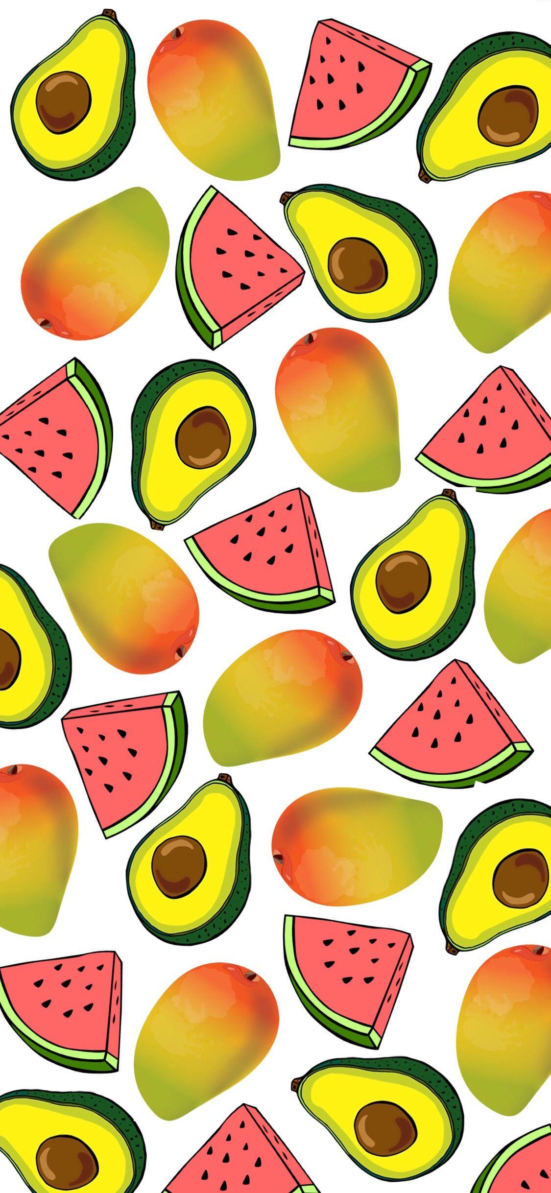 watermellon avocado mango iphone wallpaper background in 2019 1125x2436