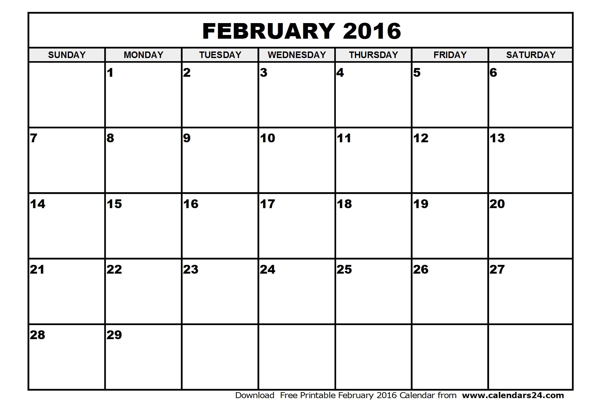 february 2016 printable calendar template february 2016 printable 1900x1343