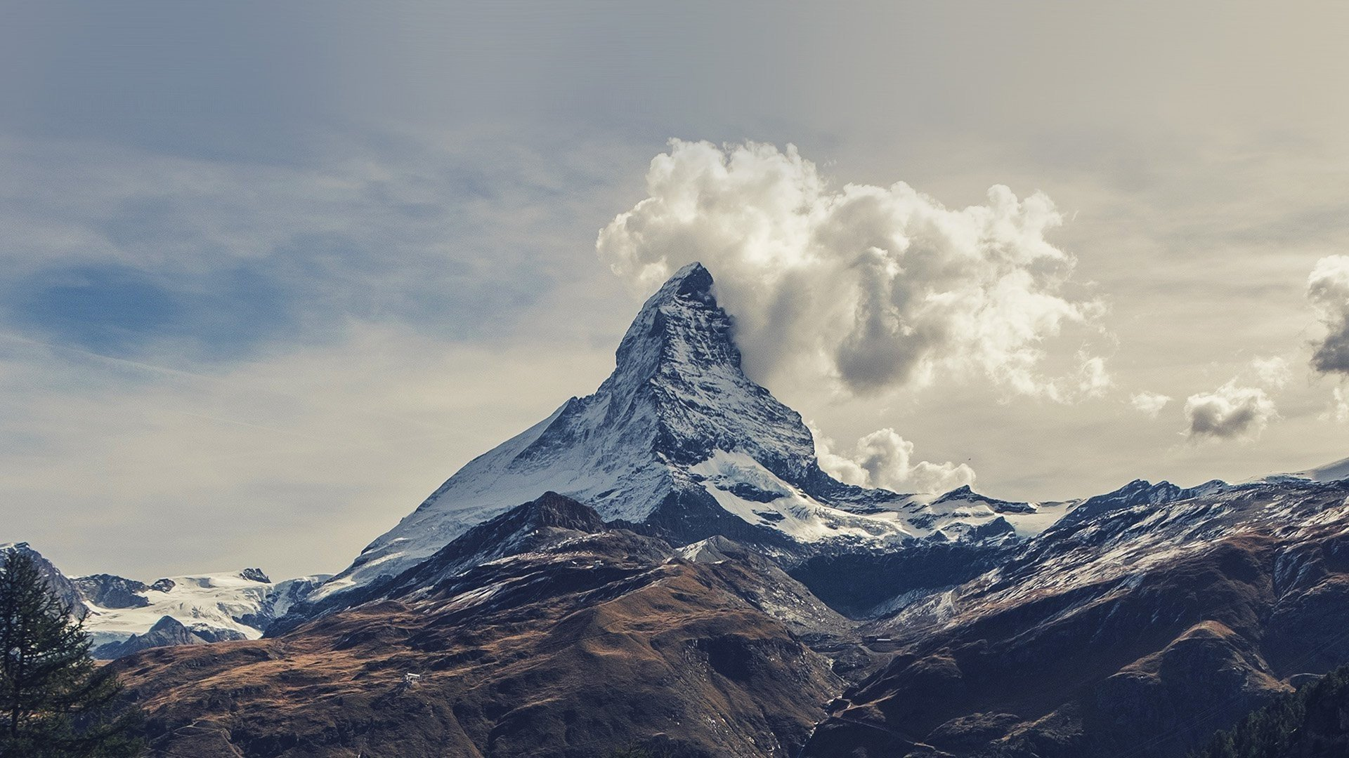 photo Mountain With Clouds   Clouds Day Daytime 1920x1080