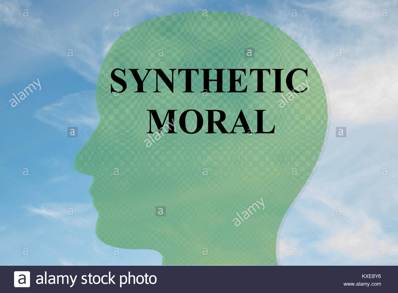 Render illustration of SYNTHETIC MORAL title on head silhouette 1300x956