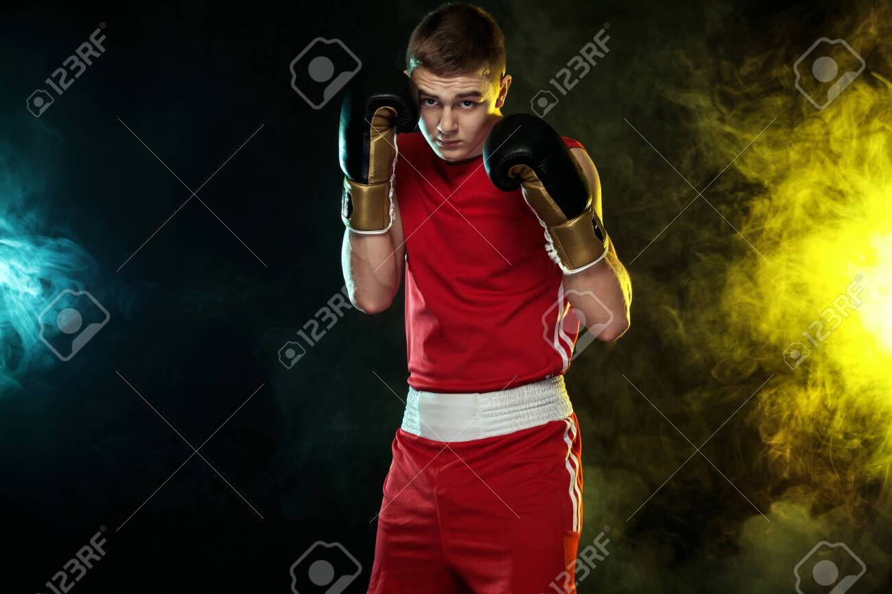 Sportsman Man Boxer Fighting In Gloves On Black Background 1300x866