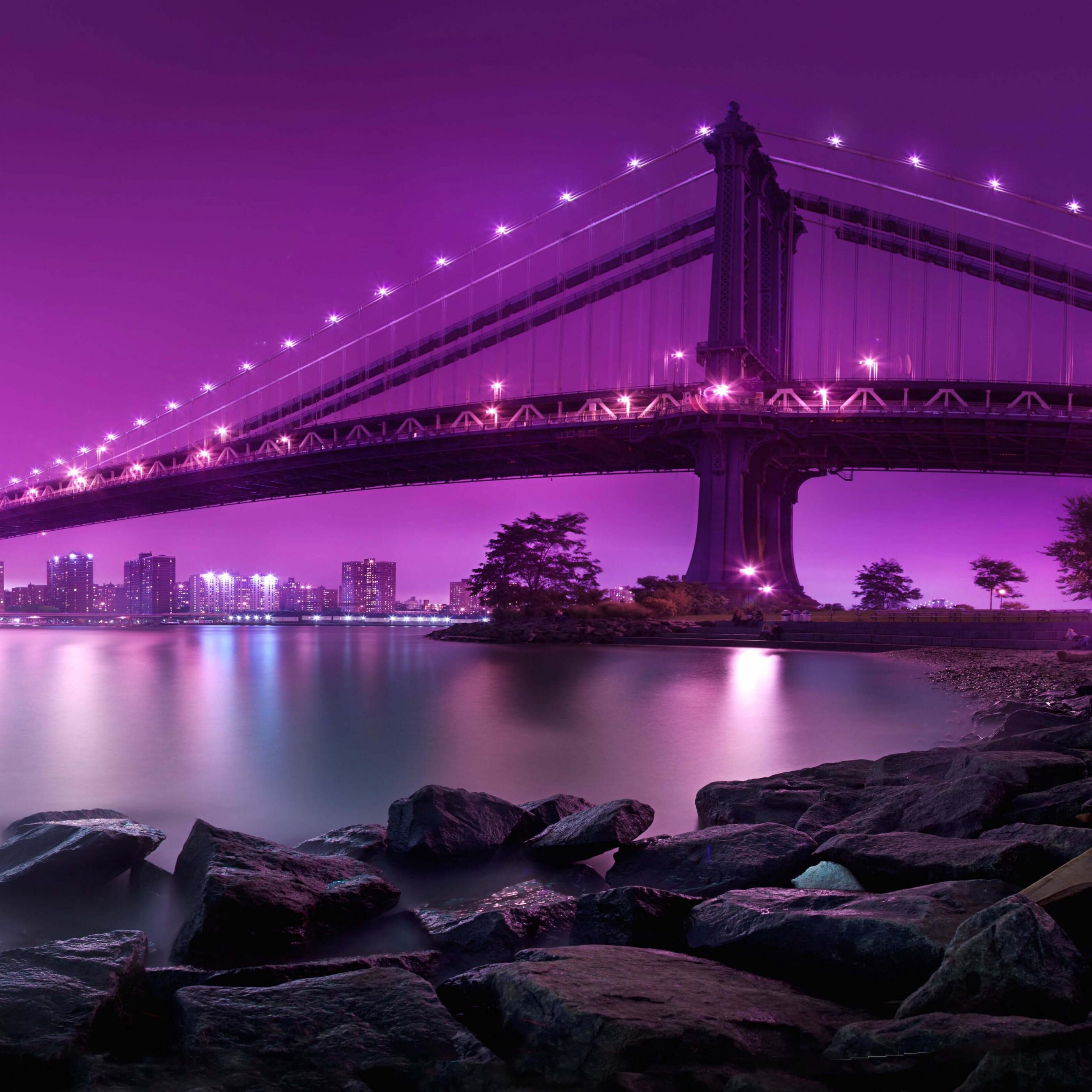 Download Brooklyn Bridge by night HD wallpaper for iPhone 6 Plus 2662x2662