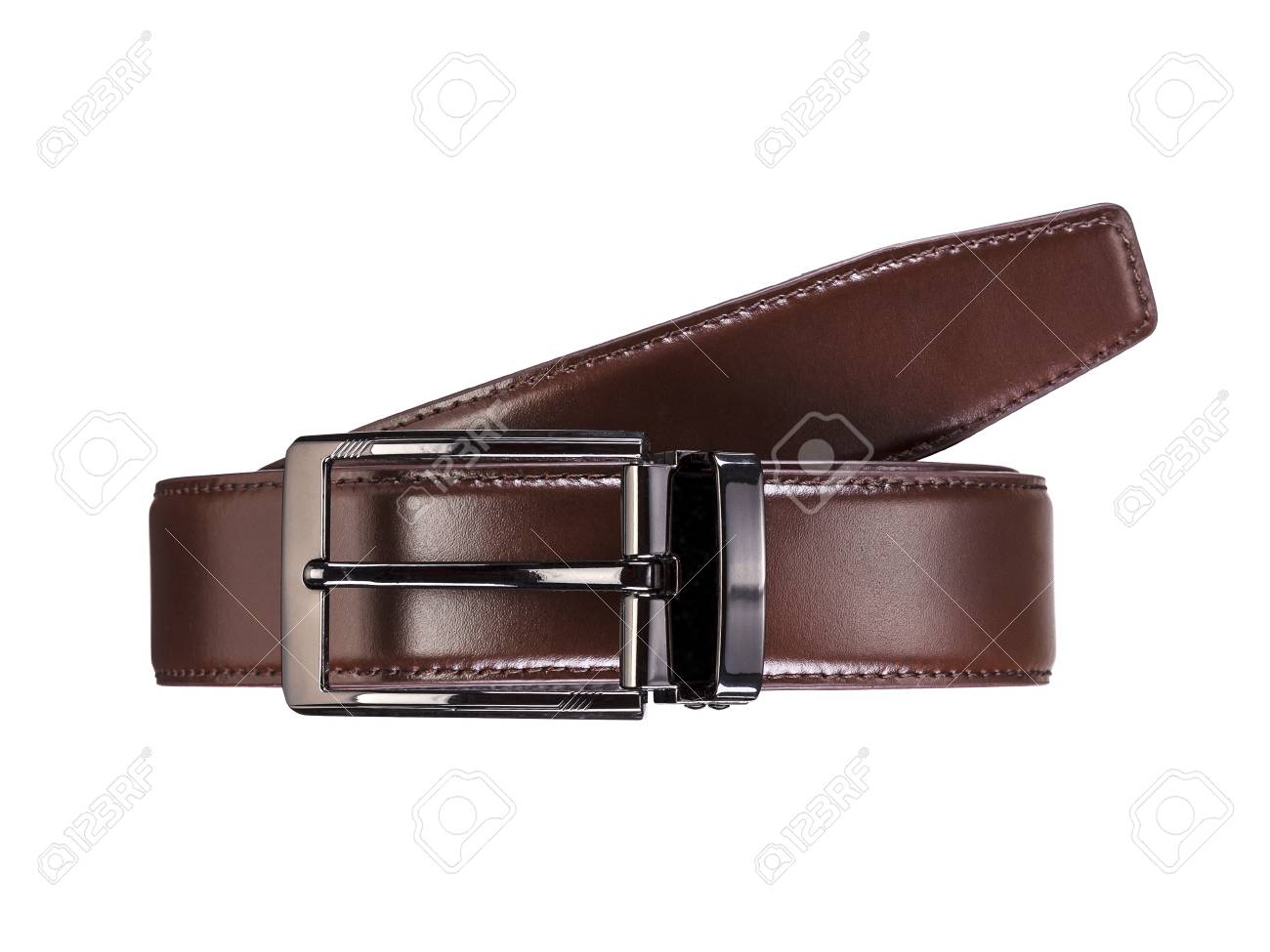 Mens Brown Leather Belt With Dark Matted Metal Buckle Isolated 1300x975