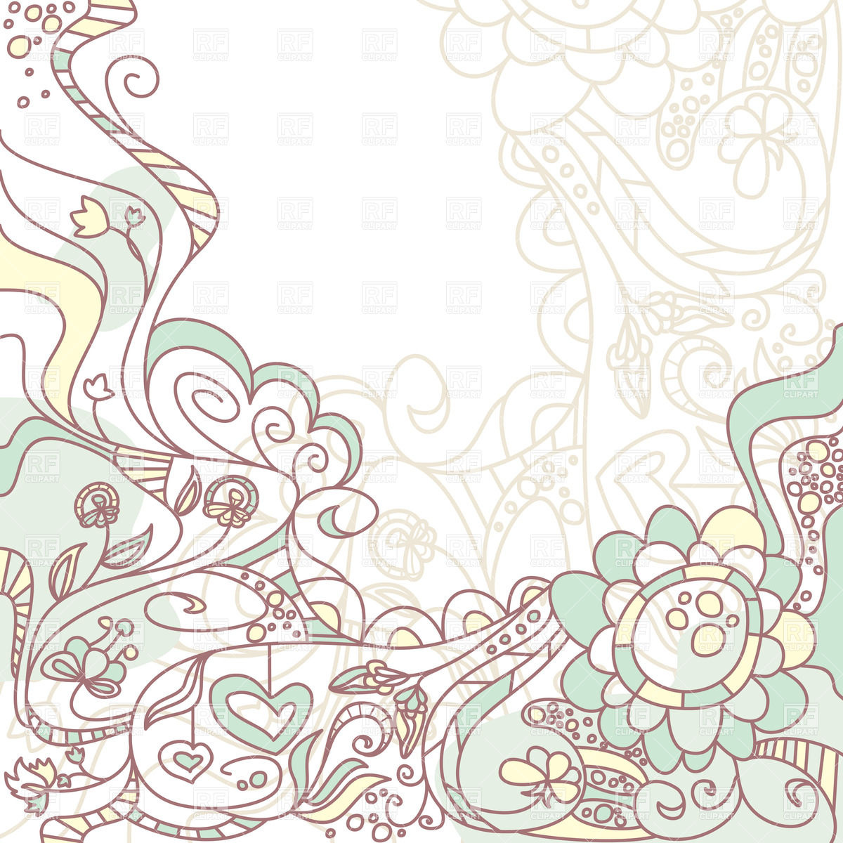 Abstract background with outline flowers Vector Image of 1200x1200