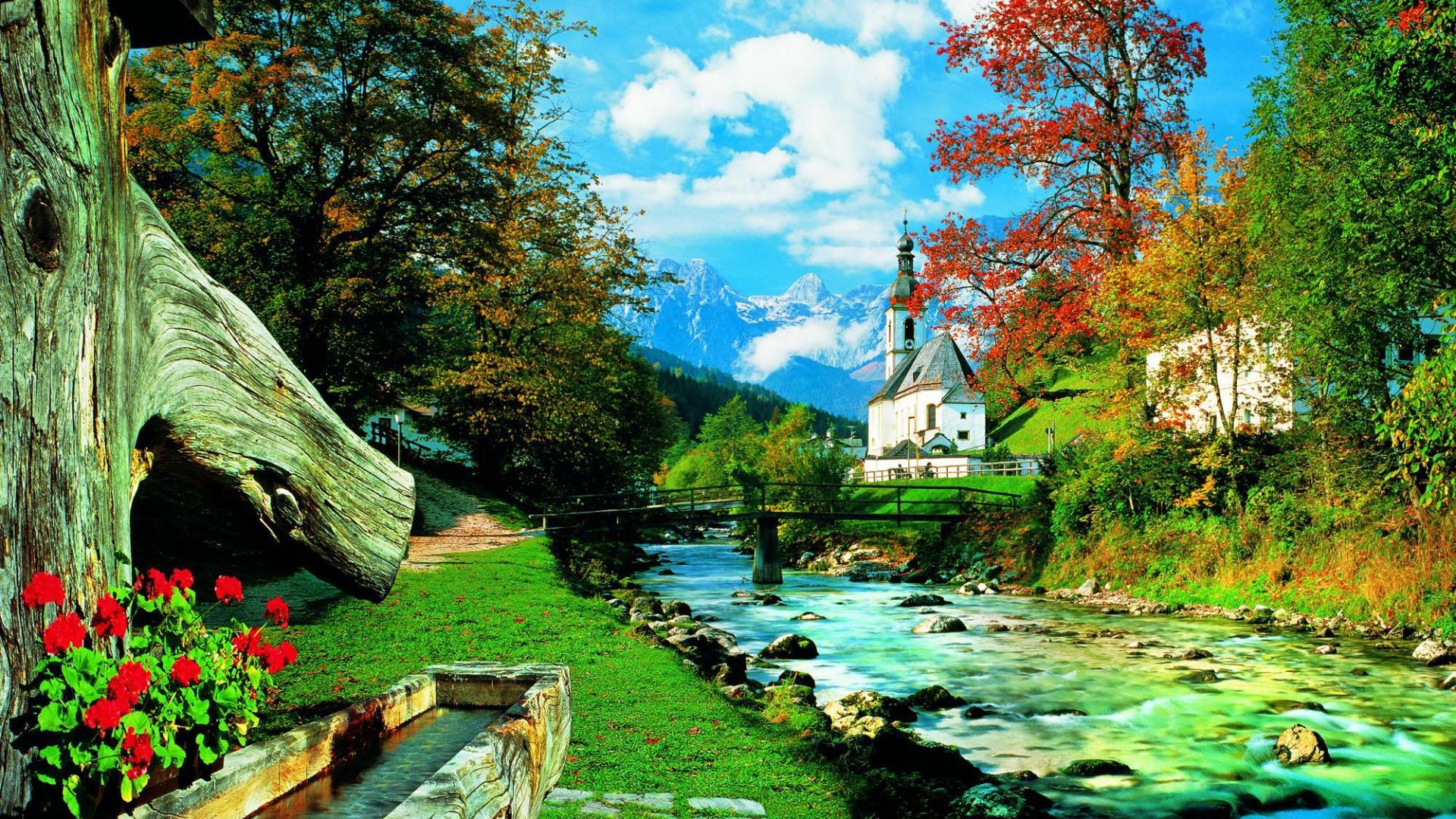 Mountain Wall Mural Bavarian Alps Wallpaper Wallpapersafari