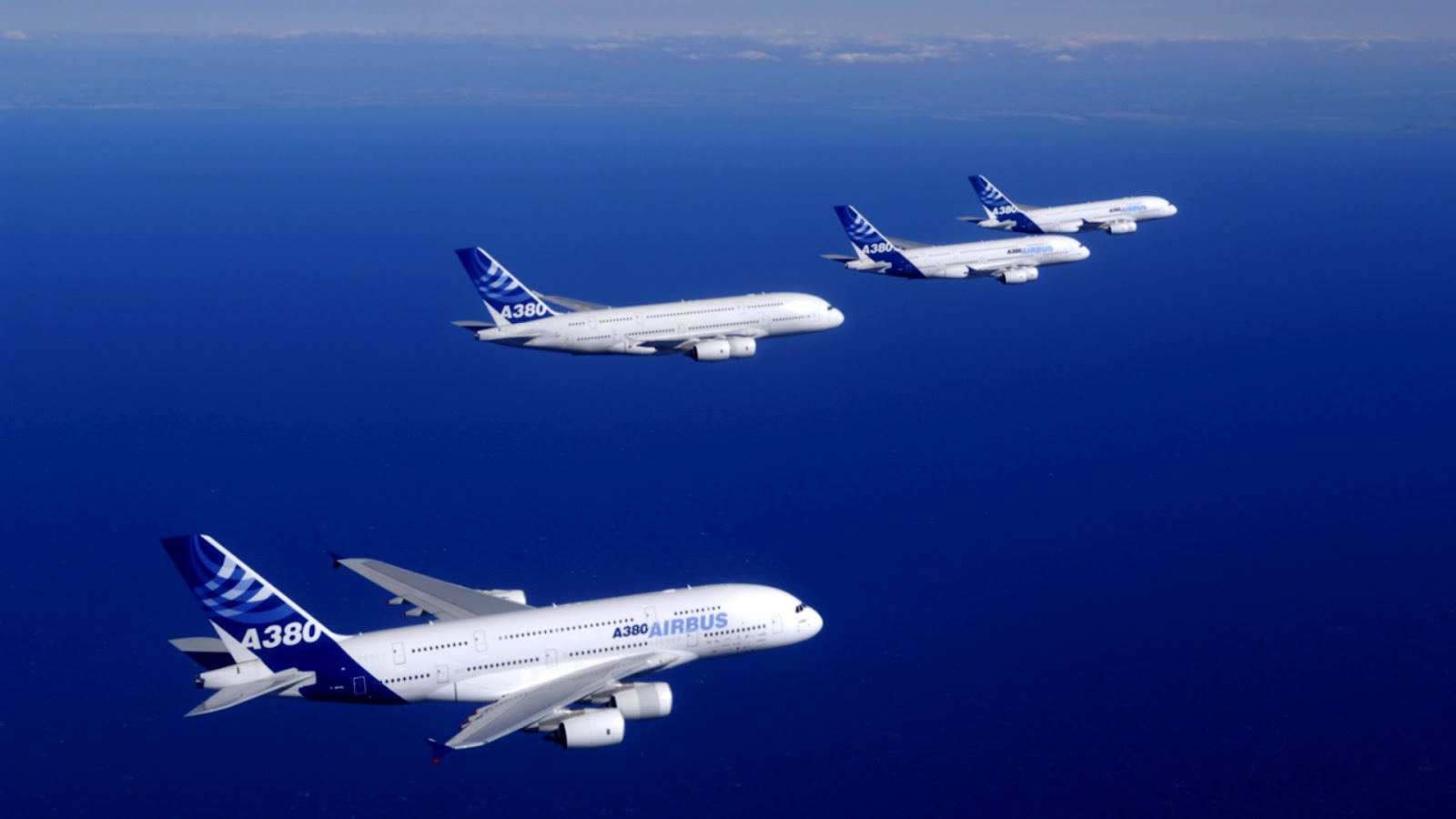Airbus A380 Planes on Ocean HD Wallpaper 1600x900