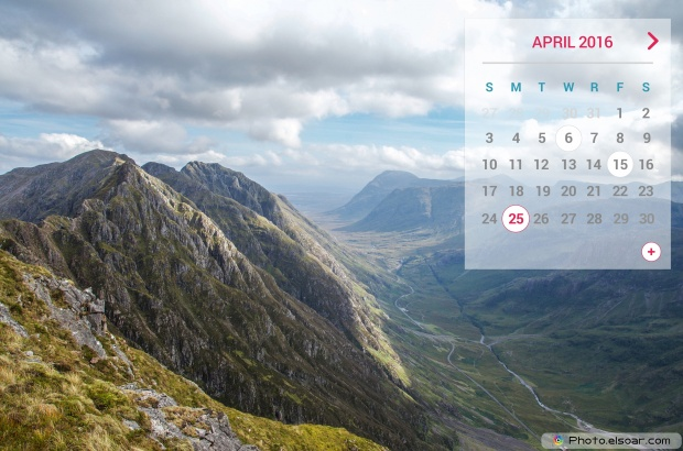 April 2016 Calendar For With A The Mountains And Landscape 620x410