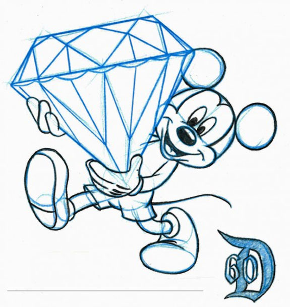 Mouse Carrying Enormous Diamond Fetes Disneylands 60th Anniversary 575x608