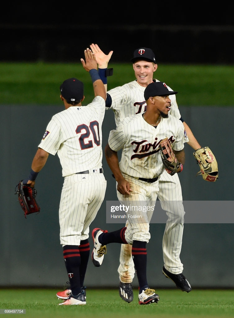 Eddie Rosario Max Kepler and Byron Buxton of the Minnesota Twins 754x1024