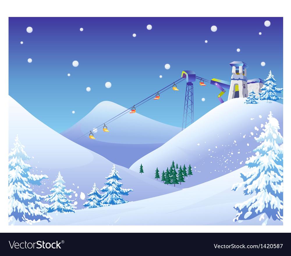 Ski resort background Royalty Vector Image 1000x880
