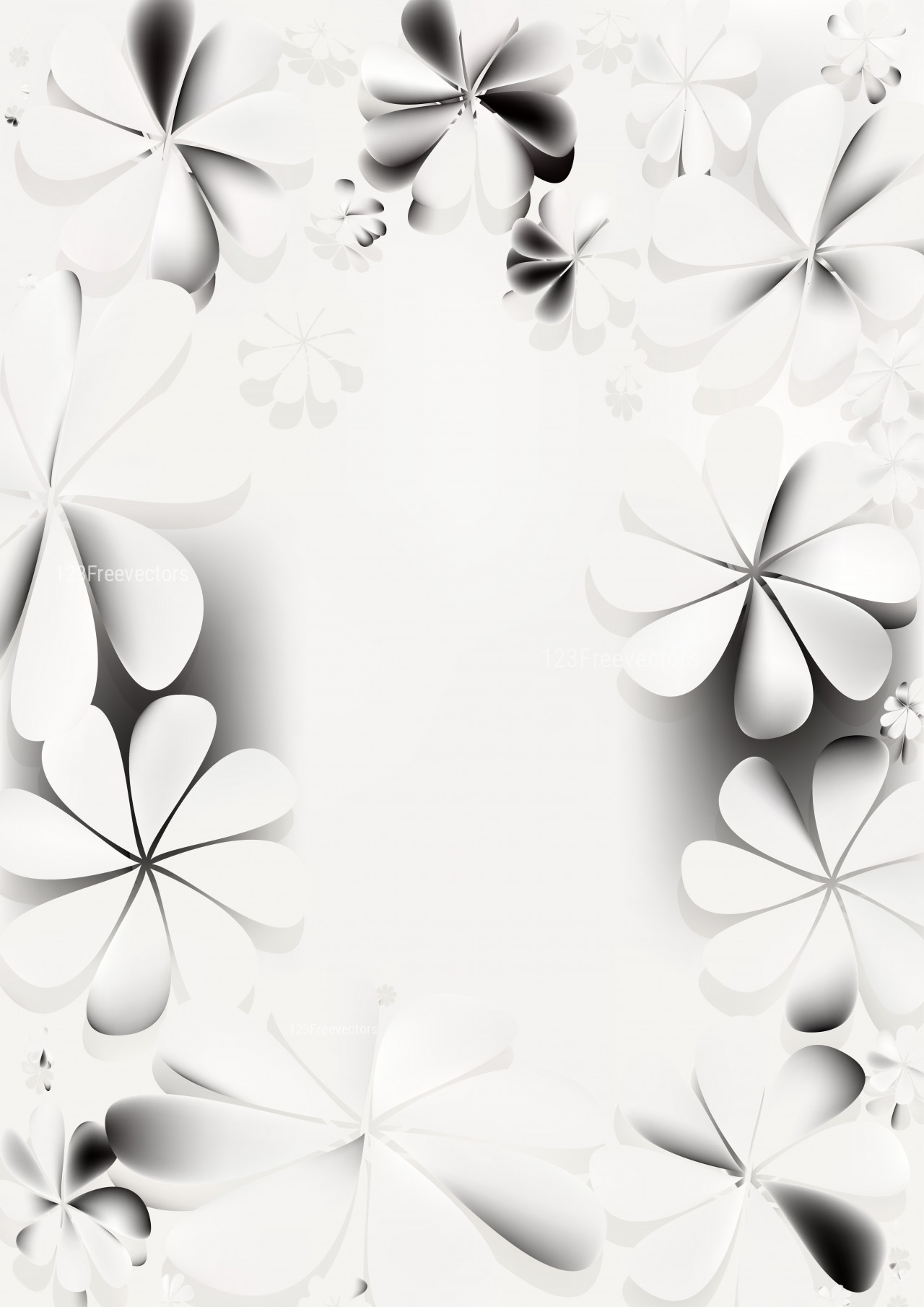 Grey and White Floral Background Graphic 1280x1810