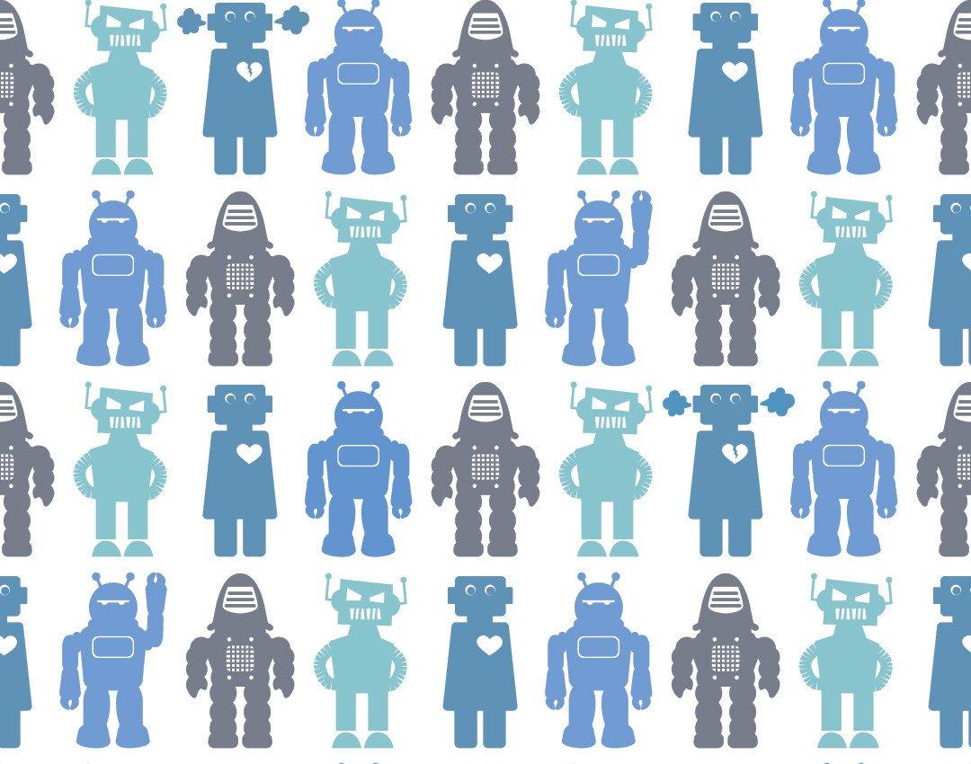 Robots Wallpaper in Sky design by Aimee Wilder BURKE DECOR 1080x850