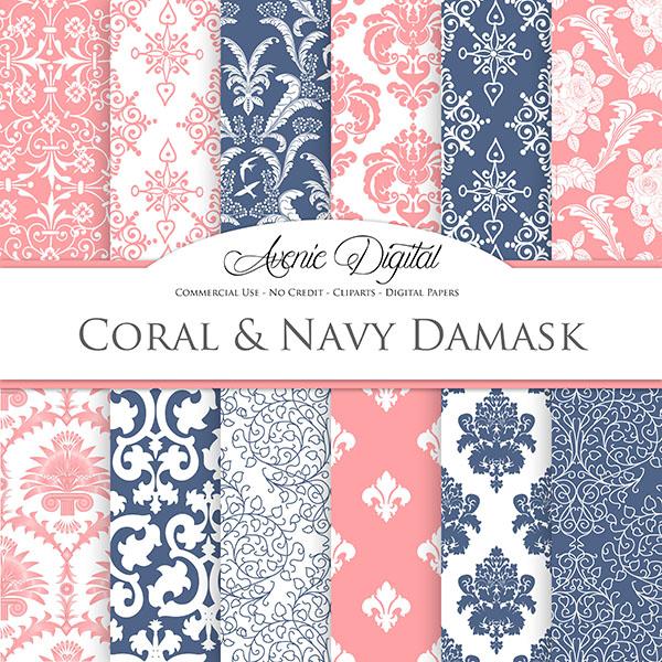 Coral and Navy Damask Digital Paper   Mygraficocom 600x600