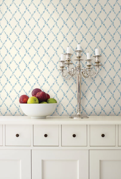 Blue Floral Trellis Wallpaper   Traditional   Kitchen   other metro 404x600